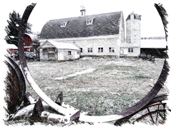 "Dahmen Barn - ""Sketch"" through Wheel Fence"