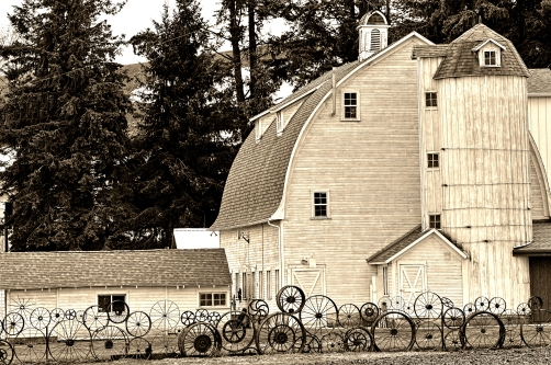 Dahmen Barn and Wagon Wheel Fence